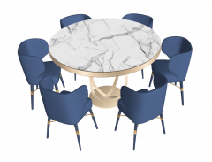 White marble table with 6 navy chairs sketchup