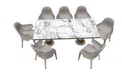White marble rectangle table with 7 chairs sketchup