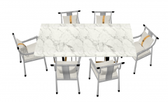 White marble table with 6 chairs sketchup
