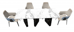White marble desk with 4 chairs sketchup