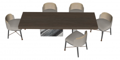 Wooden desk with 5 gray chairs sketchup