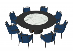 Wooden circle with marble center and 8 navy chairs sketchup
