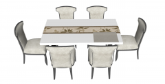 White wooden table with 6 chairs sketchup