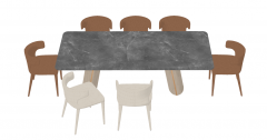 Gray stone desk with brown and white chairs sketchup
