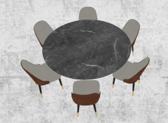 Dark marble table with 6 chairs sketchup