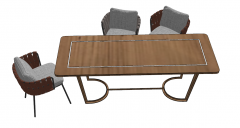 Wooden table with 3 chairs sketchup