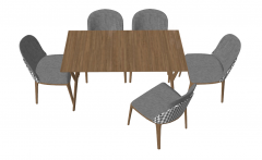 Brown wooden table with 5 gray chairs sketchup