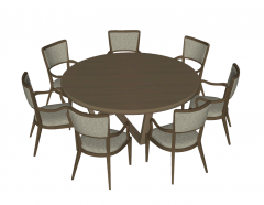 Wooden circle kitchen table with 7 chairs sketchup