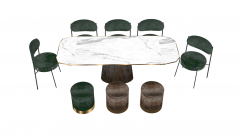 Marble ellipse meeting  table with 8 chairs sketchup