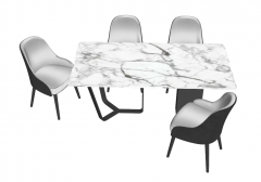 White marble table with 4 chairs sketchup
