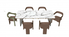 Marble desk with 6 wooden chairs sketchup