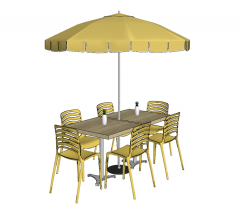 Outdoor rectangle wooden coffee table with light yellow chairs and umbrella sketchup