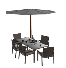 Gray umbrella with dining table and 5 chairs sketchup
