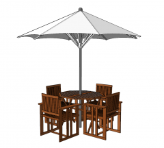 Wooden garden table with 4 chairs and white umbrella sketchup