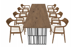 Wooden meeting table with 8 wooden chairs sketchup