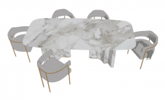 White marble table with 5 gray chairs sketchup