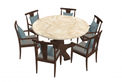 Brown marble table with 6 chairs with pillow sketchup