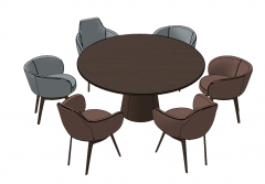 Wooden circle table with 6 chairs sketchup