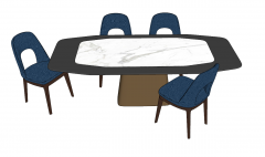 Marble table with 4 blue chairs sketchup