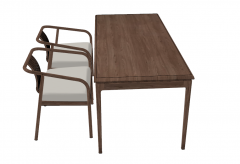 Wooden desk and wooden armchairs  with  white cushion sketchup