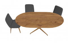 Wooden ellipse with 3 gray chairs sketchup