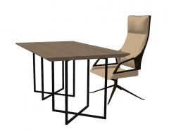 Wooden desk with office chair sketchup