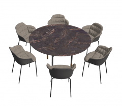 Circle marble table with 6 chairs sketchup