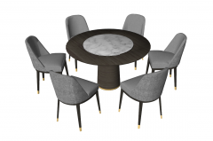 Wooden circle table with marble center and 6 gray chairs sketchup
