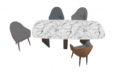 Marble desk with 4 chairs sketchup