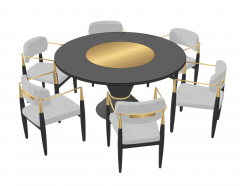 Luxury dining table with 6 chairs sketchup