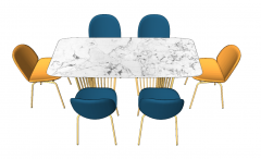 Marble table with 4 navy chairs and 2 yellow chairs sketchup