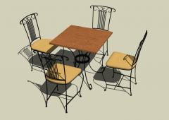 Wooden rectangle coffee table with 4 chairs sketchup