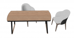 Office desk with 2 armchairs sketchup