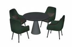 Gray circle table with green 4 chairs sketchup
