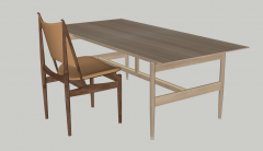 Wooden desk with chairs sketchup