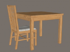 Wooden home desk and chair sketchup