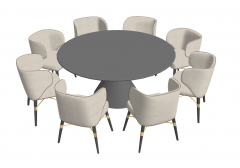 Gray circle table with 8 chairs sketchup