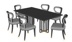 Set stone table and chairs sketchup