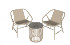 2 Wooden chair with fabric back and coffee table sketchup