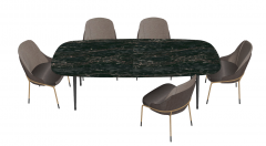 Dark marble table with 5 gray chairs sketchup