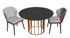 Circle coffee table with 2 chairs sketchup