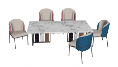 Marble dining table with 5 chairs sketchup