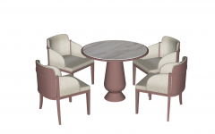Circle coffee table with 4  chairs sketchup