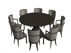 Circle table with 6 chairs sketchup