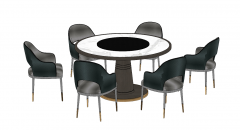 Circle table with 6 armchairs sketchup