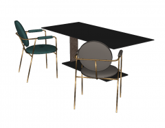 Dark rectangle table with gray and blue green chair sketchup