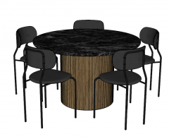 Circle table with 5 dark chairs sketchup