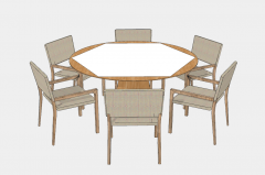 Wooden table with 6 wooden armchairs sketchup