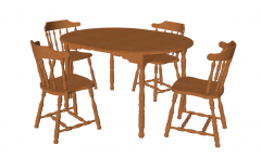Wooden table and 4 chairs sketchup