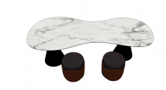 Marble reception table with 2 circle chairs sketchup